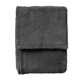 Colton Large Plush Throw in Stone Grey