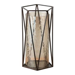 Marina Metal and Lustre Glass Lantern, Medium