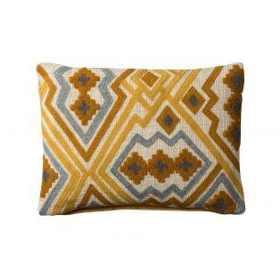 Karim Hand Embroidered Cushion in Ochre