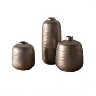 Tait Porcelain Vase Set in Dark Copper
