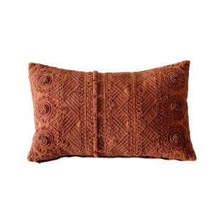 Luna Stonewashed Cushion in Clay Red