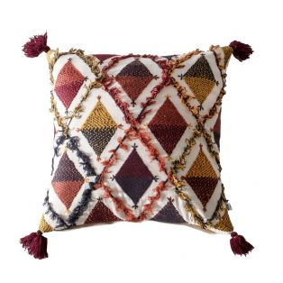 Sarena Patterned Cushion in Red and Ochre