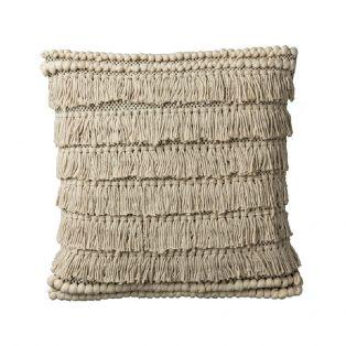 Rosie Fringed Pom Pom Cushion in Cream