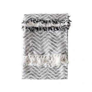 Nala Herringbone Cotton Throw in Monochrome