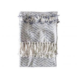 Nala Herringbone Cotton Throw in Grey and Cream
