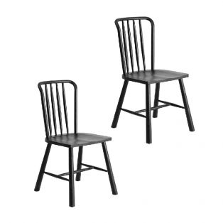 Rebecca Oak Dining Chairs in Black, set of 2