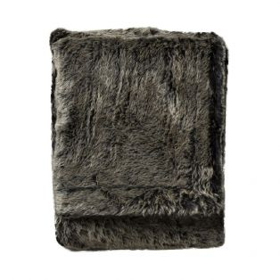 Lobo Faux Fur Throw in Mole
