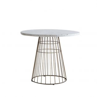 Louise Bistro Table in Bronze and Grey Terrazzo