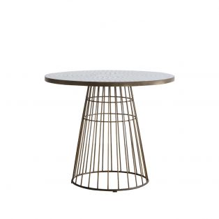 Louise Bistro Table in Bronze and Ceramic Mosaic Top