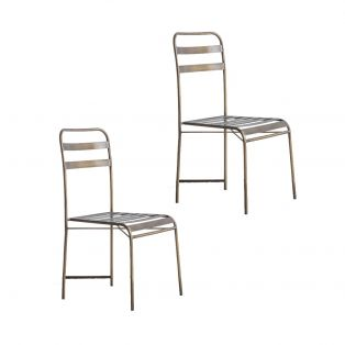 Thelma Bistro Metal Chair in Bronze, Pack of Two