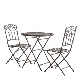 Paxton Outdoor Bistro Table and Chairs Set in Brown