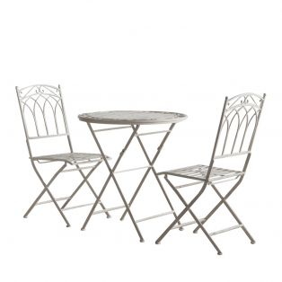 Paxton Outdoor Bistro Table and Chairs Set in Weathered White