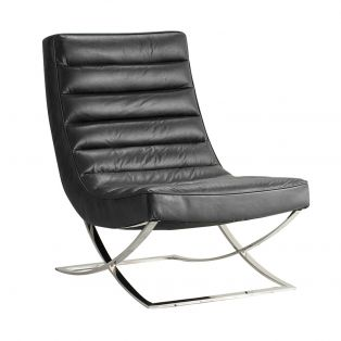 Edison Leather Lounger in Black