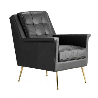 Ike Leather Armchair in Black