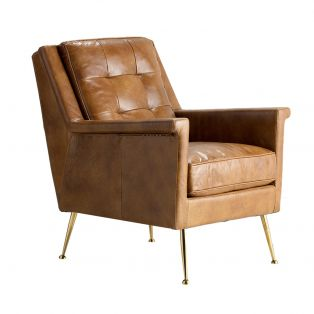 Ike Leather Armchair in Brown