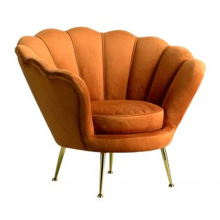 Brooke Velvet Armchair in Rust Orange