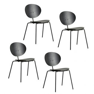 Iria Black Dining Chair, Set of Four