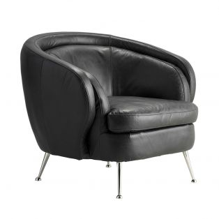 Murray Leather Tub Chair in Black