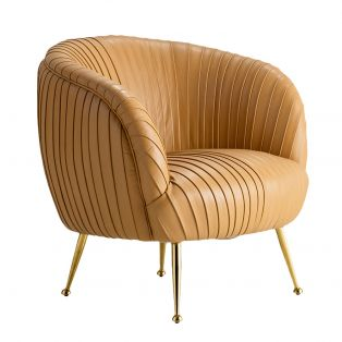 Gemma Leather Tub Chair in Caramel