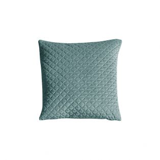 Revna Plush Quilted Cushion in Duck Egg Blue