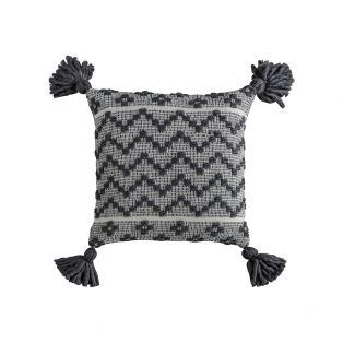Demetrius Embroidered Tassel Cushion in Grey and White