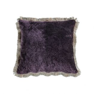 Misha Mottled Fringed Velvet Cushion in Plum