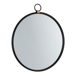 Greg Round Hanging Mirror in Black