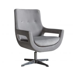 Plover Grey Velvet Swivel Chair