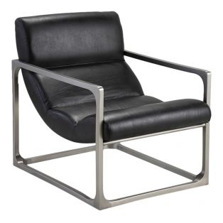 Cadence Black Leather Lounger