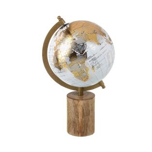 Golden Small Globe on Wooden Stand