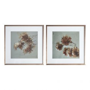 Pink Blossom Framed Wall Art, Set of Two