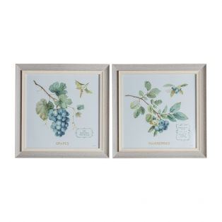 Blossoming Berries Framed Wall Art, Set of Two