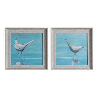 Seagulls at Sea Framed Wall Art, Set of Two