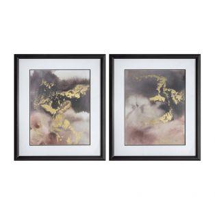 Golden Glow Framed Wall Art, Set of Two