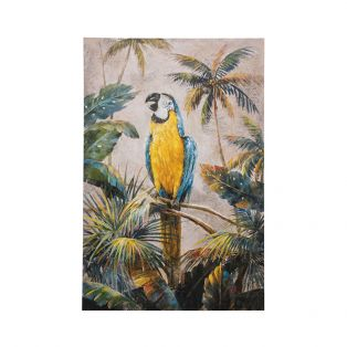 Palm Tree Parrot Canvas Wall Art