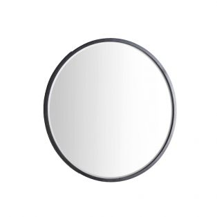 Newport Round Mirror in Deep Black, Small