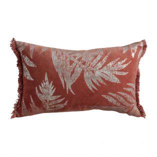 Saville Terracotta Velvet Leaves Cushion
