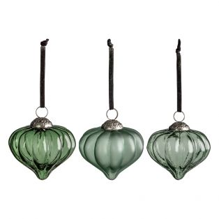 Chambley Large Teal Fluted Baubles, Set of Six
