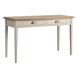 Sienna Two Drawer Desk in Ice Grey