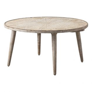 Payzac Patterned White Coffee Table