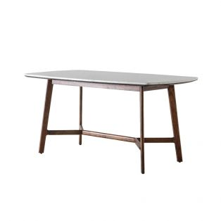 Palma Acacia and Marble Dining Table