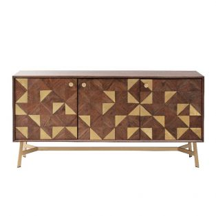 Harvey Acacia and Brass Sideboard