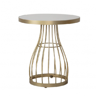 Vivien Side Table in Bronze and White