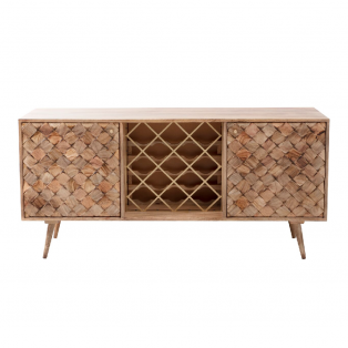 Margaery Mango Wood Sideboard With Bottle Rack